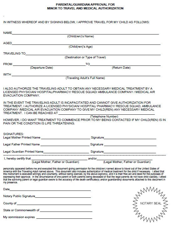 Free Sample Travel Consent Form  Printable Samples