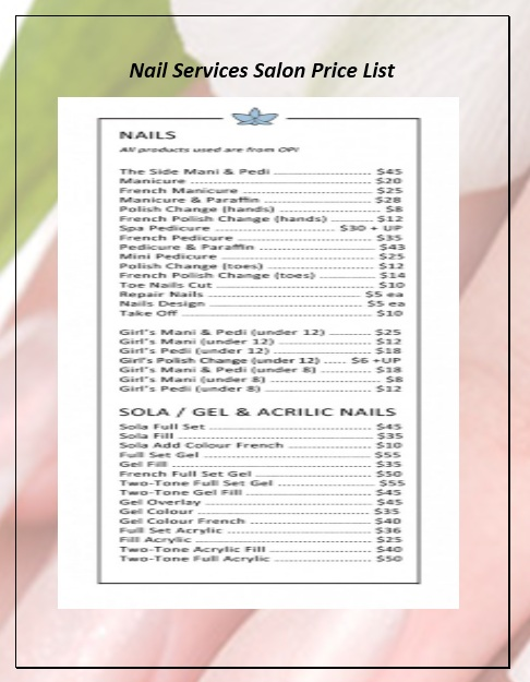 here is preview of another sample nail services salon price list template created using ms word