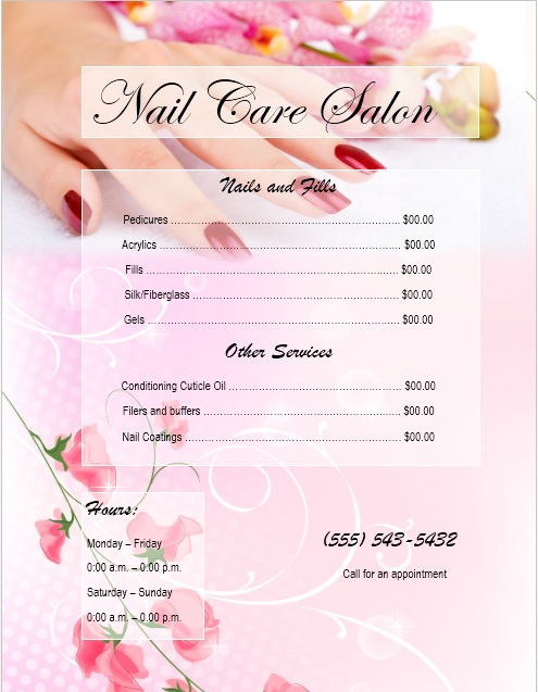 Free Sample Nail Services Salon Price List Templates  Printable