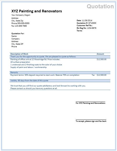 11 free sample painting estimate templates printable samples on house painting estimation id=34821