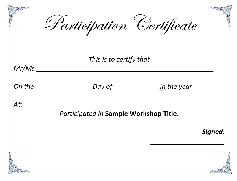 Here Is Preview Of Another Sample Participation Certificate Template  Created Using MS Word,