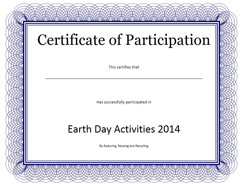 Here Is Preview Of Another Sample Participation Certificate Template  Created Using MS Word,  Participation Certificate Template