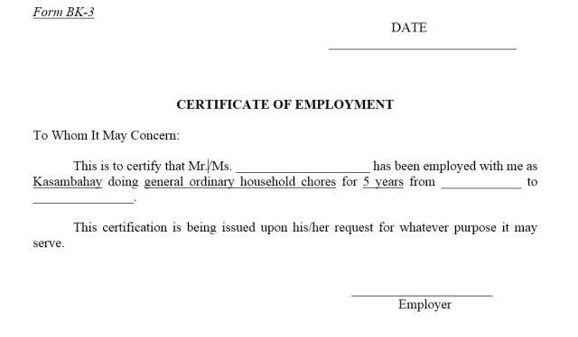 Sample Employment Certificate Templates