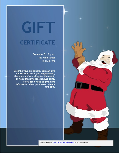 11 free sample christmas gift certificate templates printable here is preview of this first sample christmas gift certificate template created using ms word yelopaper Images