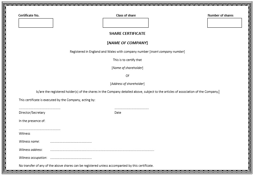 Here Is Preview Of Another Sample Stock Shares Certificate Template Created  Using MS Word,  Company Share Certificates