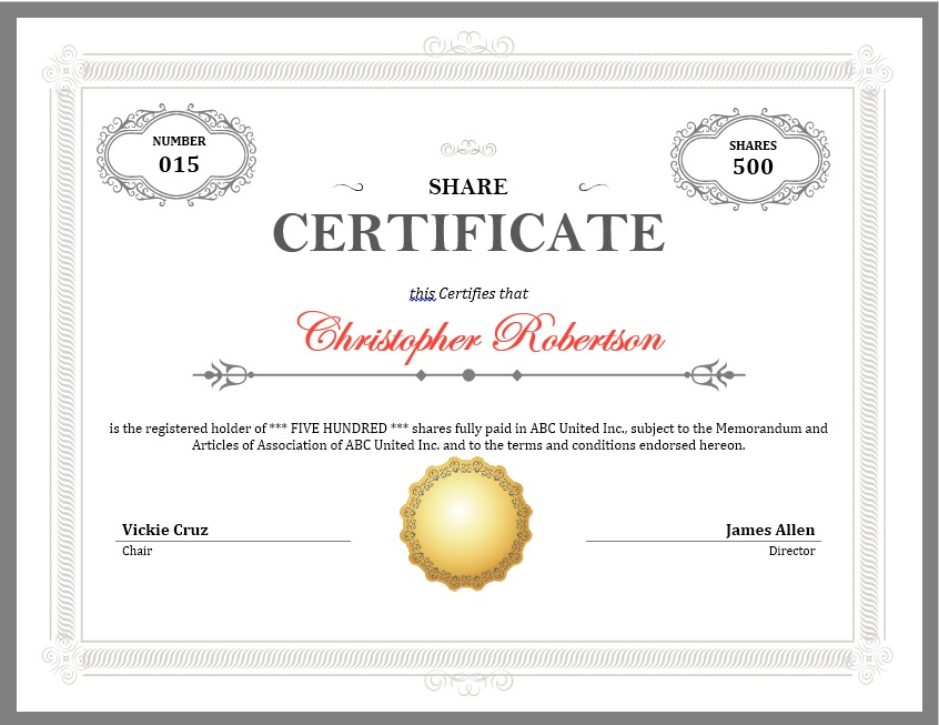 12 free sample stock shares certificate templates for Share certificate template
