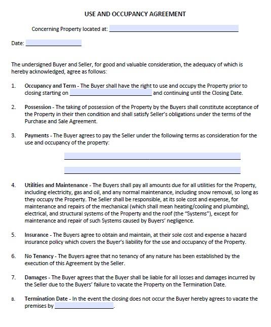 13 Free Sample Occupancy Agreement Templates Printable Samples