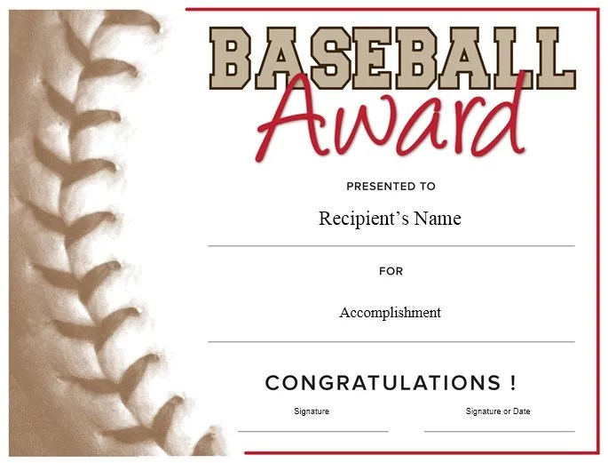 baseball award certificate template free choice image