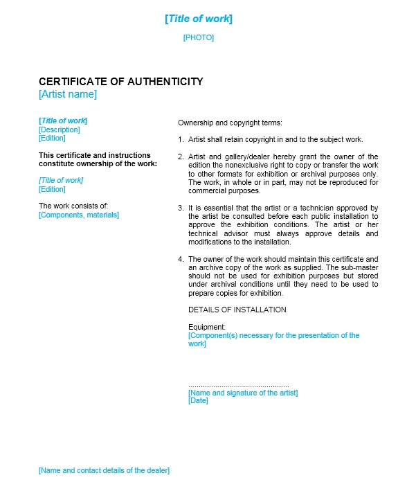 7 Free Sample Authenticity Certificate Templates - Printable Samples