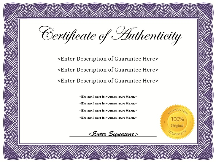 here is preview of another sample authenticity certificate template created using ms word