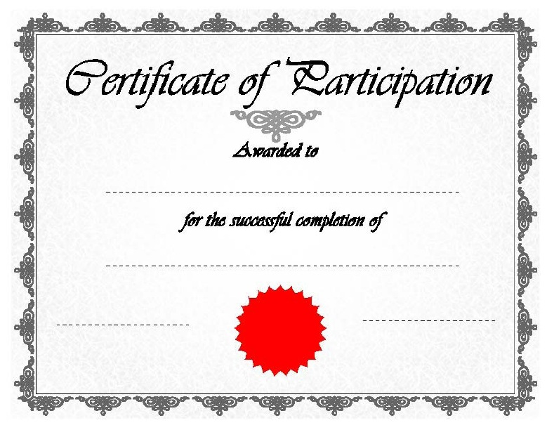 Here Is Preview Of Another Sample Participation Certificate Template In PDF  Format,
