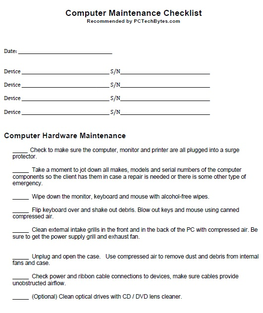 12 Free Sample Computer Maintenance List Templates – Printable Samples
