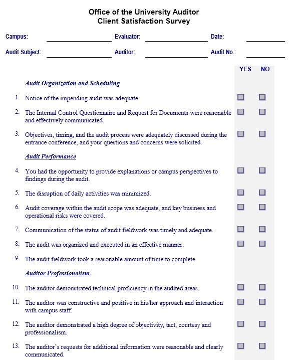 sample internal customer satisfaction questionnaire