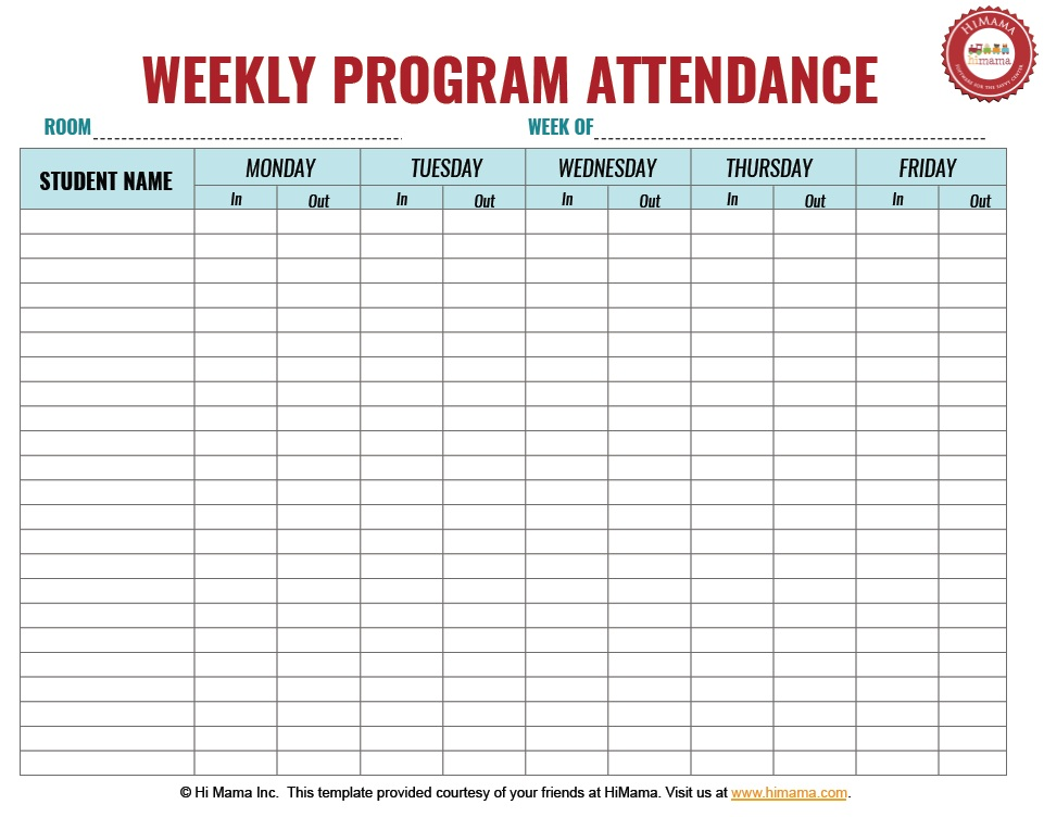9 free sample child care attendance sheet templates for Security sign in sheet template