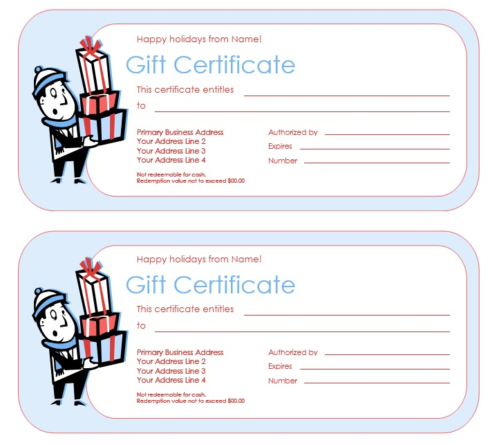 12 Free Sample Holiday Gift Certificate Templates  Business Gift Certificate Template Free