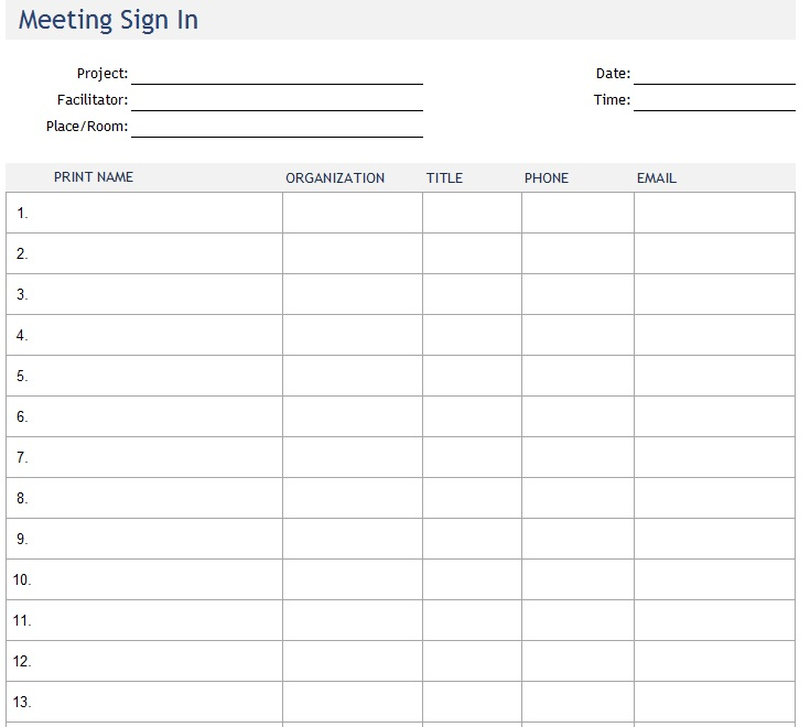 Here Is Preview Of Another Sample Meeting Attendance Sheet Template Created  Using MS Excel,