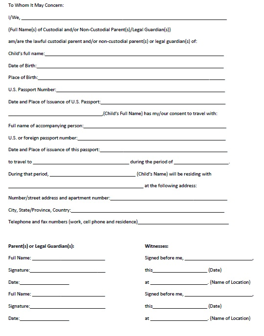 Here Is Preview Of Another Sample Travel Consent Form Template In PDF  Format,  Child Travel Consent Form
