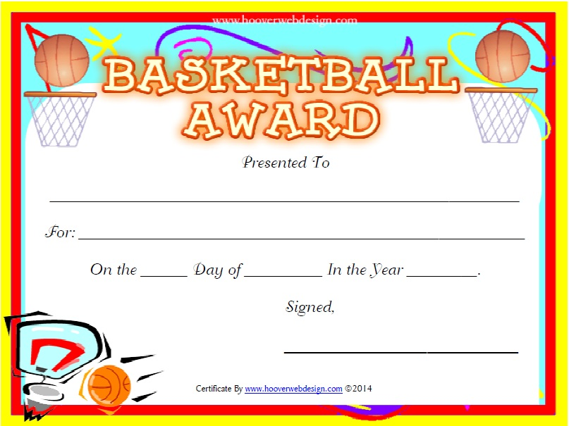 Free Sample Basketball Certificate Templates  Printable Samples