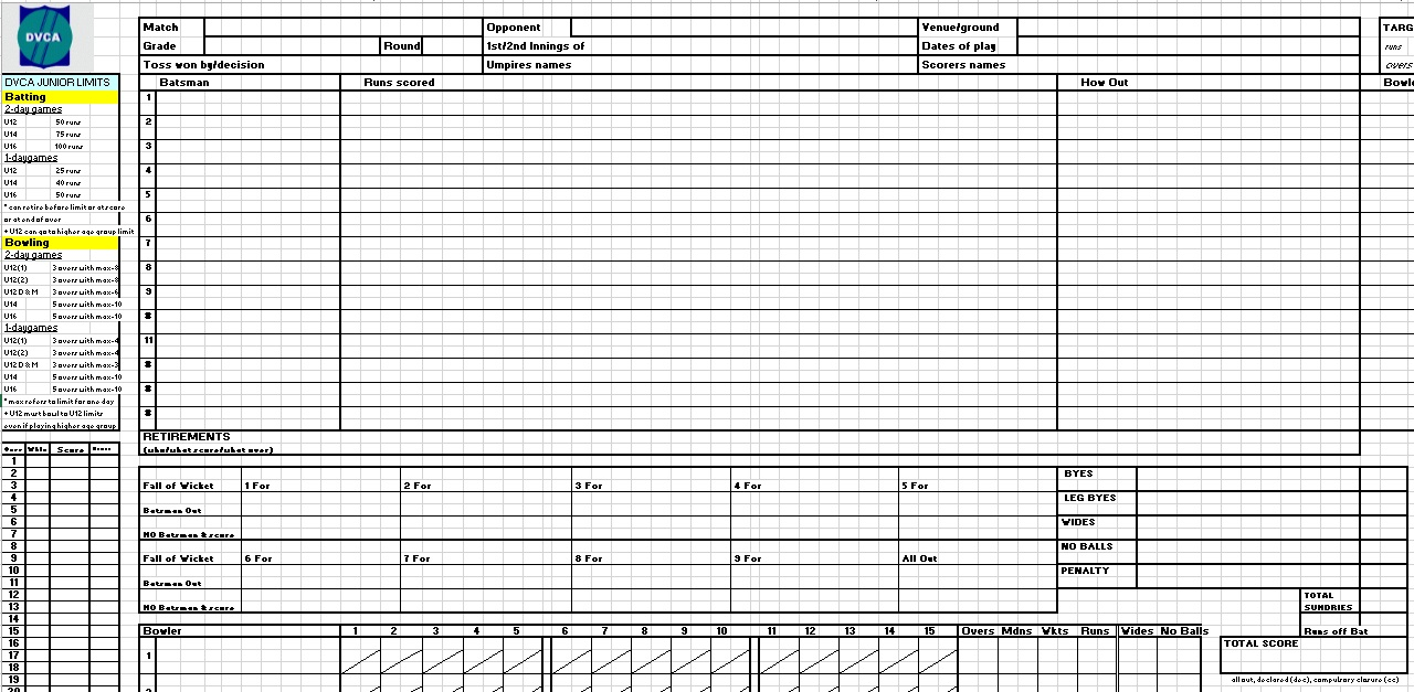 Here Is Preview Of Another Sample Cricket Score Sheet Template Created  Using MS Excel,
