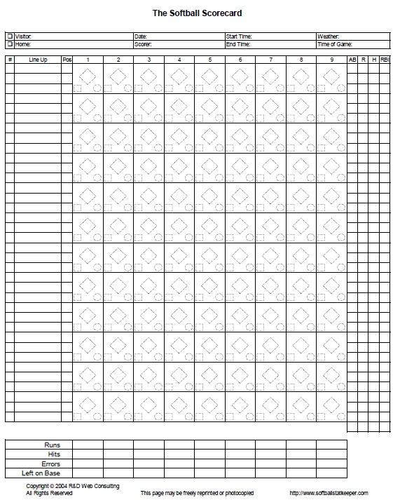 Free Sample Softball Score Sheet Templates  Printable Samples