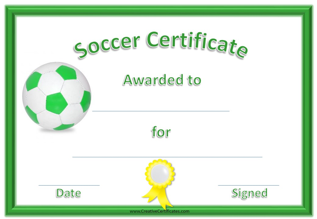 Here Is Preview Of Another Sample Soccer Certificate Template Created Using  MS Word, Good Ideas