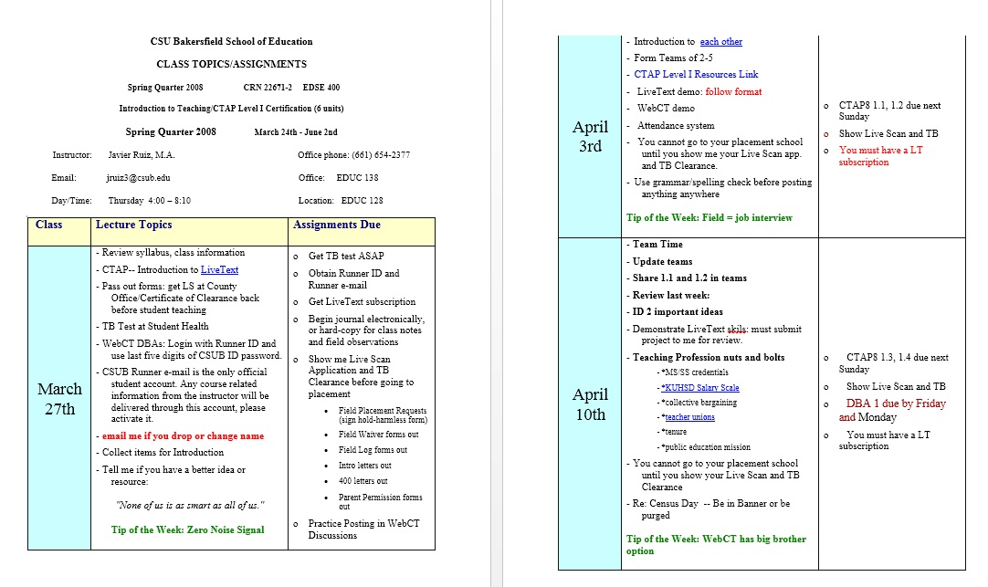 11 free sample class schedule templates printable samples