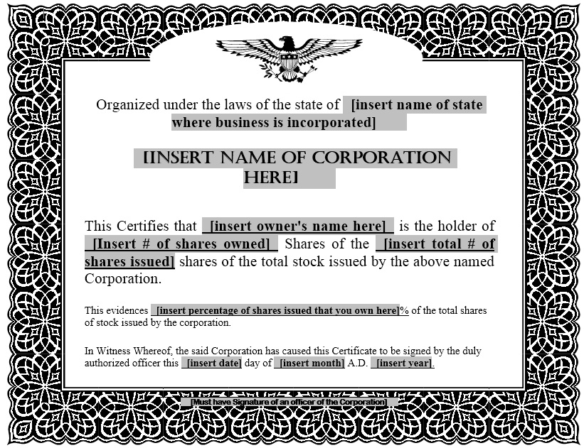 Free Sample Stock Shares Certificate Templates Printable Samples - S corporation stock certificate template