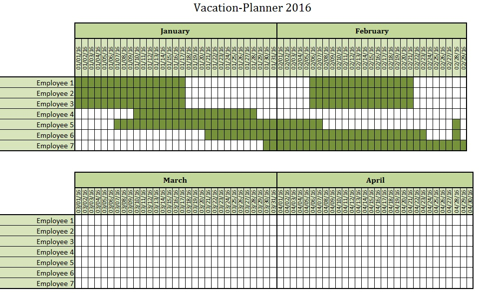 Vacation Planning Template. Employee Vacation Tracking Employee