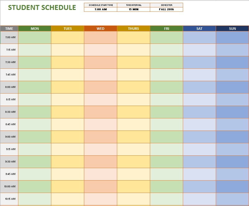weekly-student-schedule-template 8 - Printable Samples