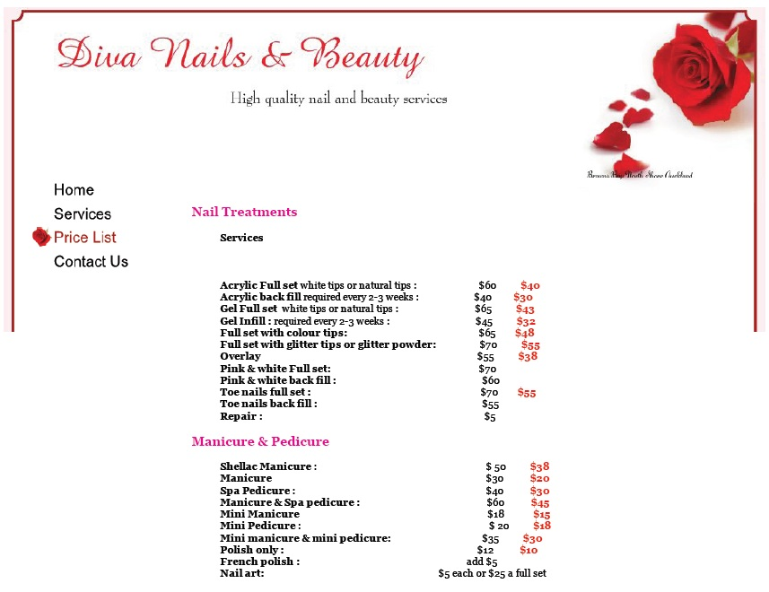 Here Is Preview Of Another Sample Nail Services Salon Price List Template  In PDF Format,