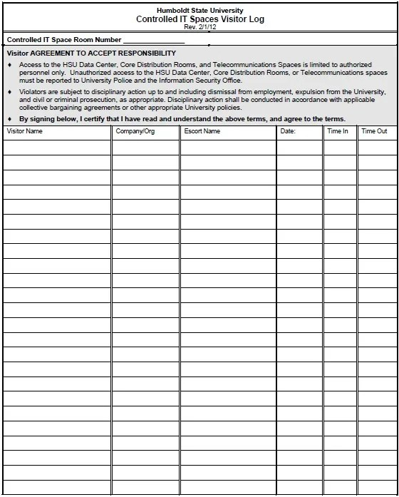 Free Sample Visitor Log Templates  Printable Samples