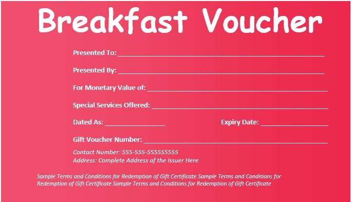 8 Free Sample Breakfast Voucher Templates - Printable Samples