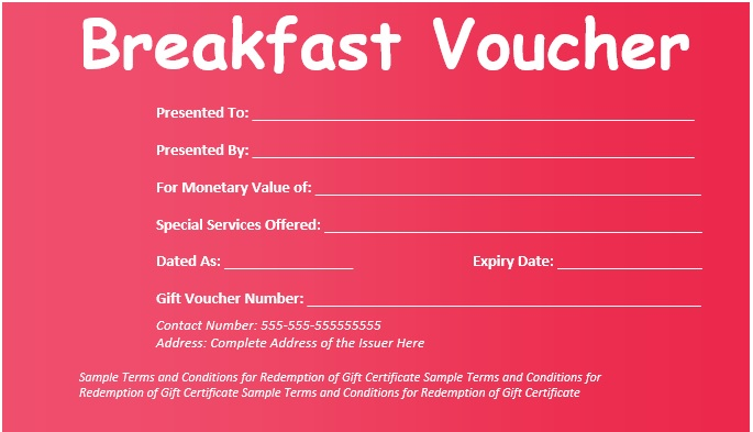 Here Is Preview Of Another Sample Breakfast Voucher Template Created Using  MS Word,  Examples Of Vouchers