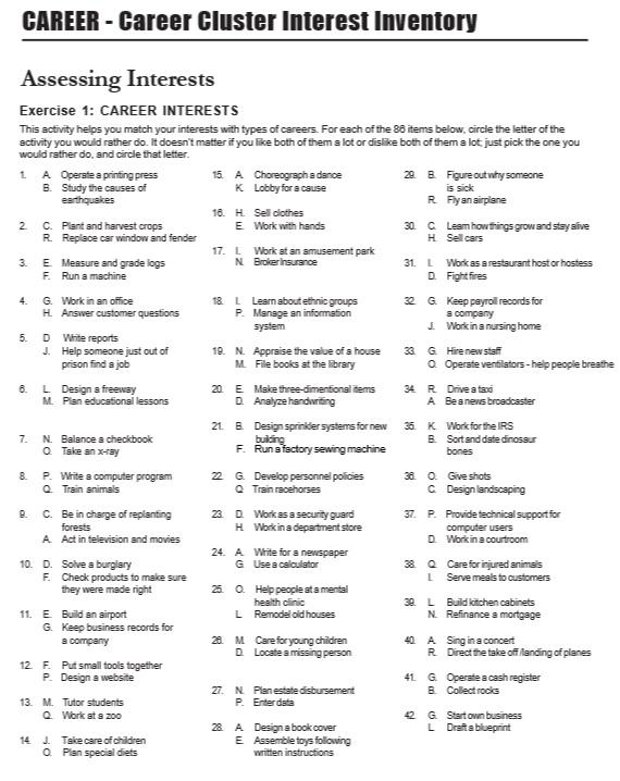 Free Printable Career Surveys 3d House Drawing