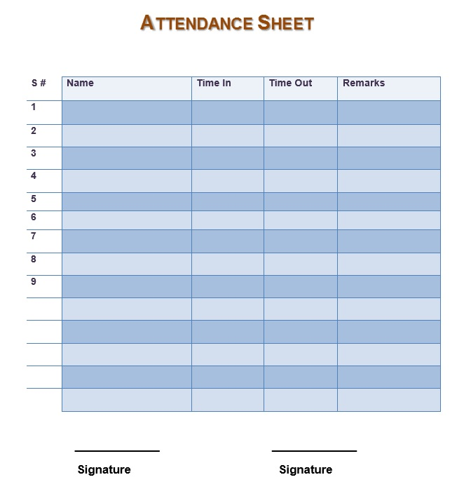 7 Free Sample Teachers Attendance Sheet Templates Printable Samples – Sample Attendance Sheets
