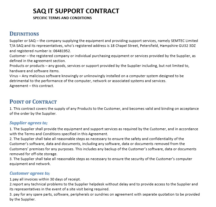 Free Sample Professional It Service Agreement Templates