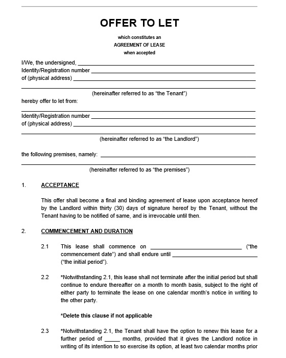 Free Sample Legal Lease Agreement Templates  Printable Samples