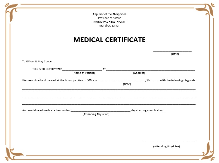 8 free sample medical certificate templates printable for Sick certificate template