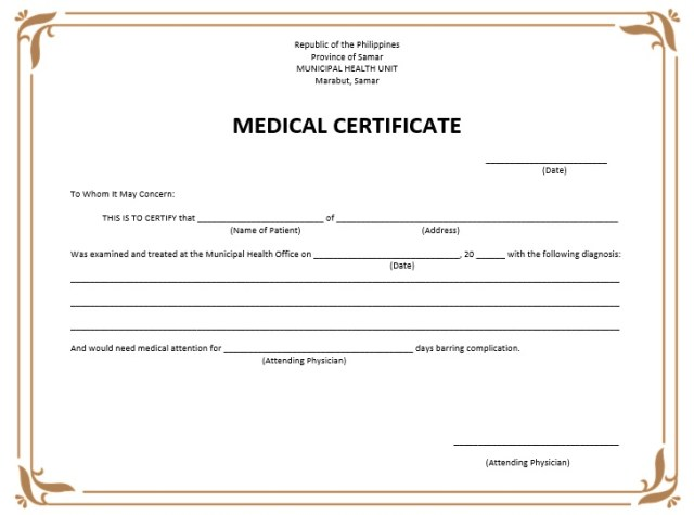 Medical certificate for sick leave pictures medical certificate sample medical certificate for sick leave philippines city espora co yelopaper Images