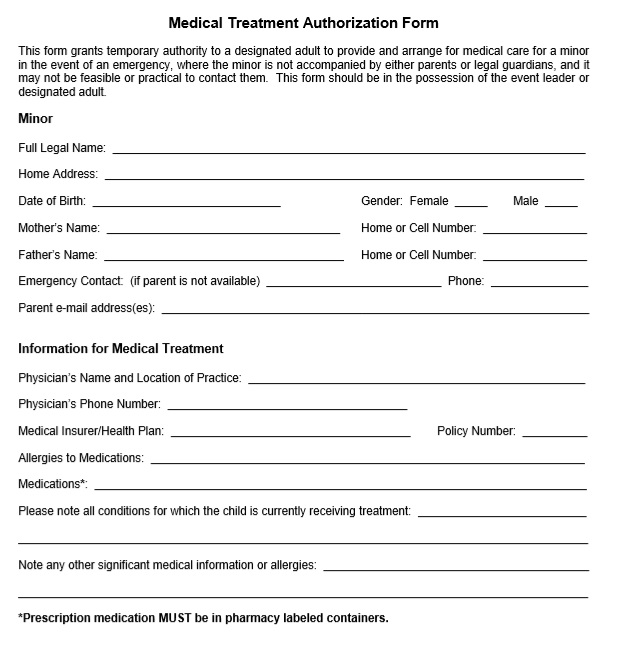 Free Sample Printable Medical Authorization Forms  Printable Samples