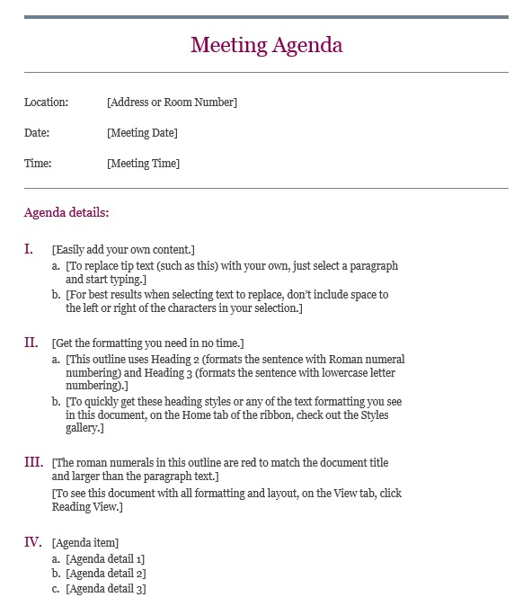 Here Is Preview Of Another Sample Basic Meeting Agenda Template Created  Using MS Word,  Meeting Outline Sample