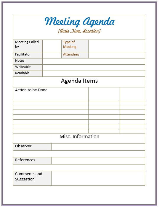 Free Sample Informal Agenda Templates For Your Casual Meetings