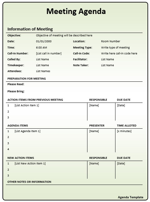 Free Sample Informal Agenda Templates For Your Casual Meetings