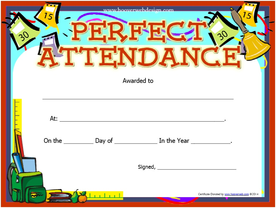 free printable perfect attendance award certificates