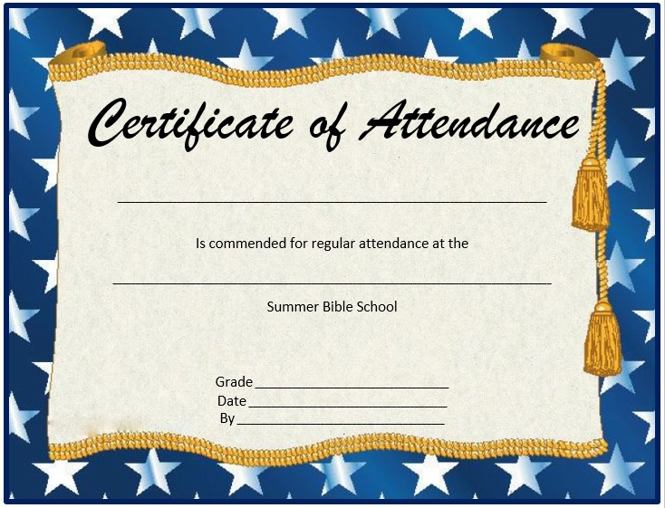here is preview of this first sample perfect attendance certificate template created using ms word