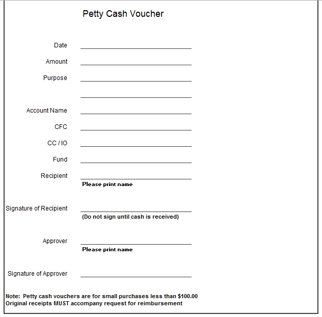 Free Sample Petty Cash Voucher Templates  Printable Samples