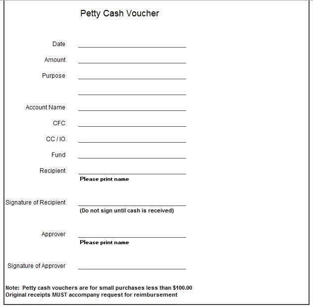 petty cash reimbursement template
