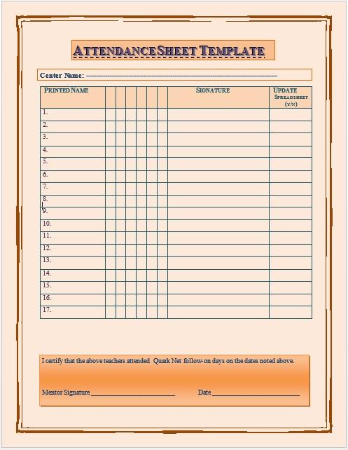 11 free sample school attendance sheet templates