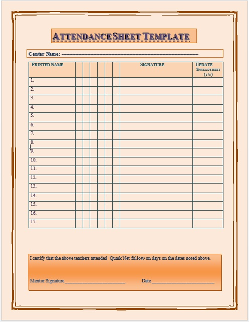Here Is Preview Of Another Sample School Attendance Sheet Template Created  Using MS Word,