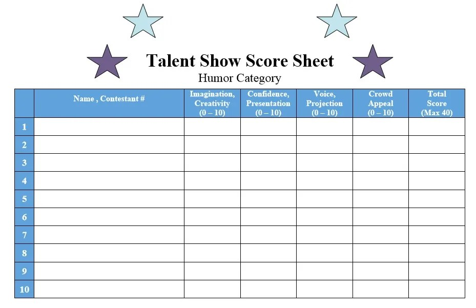 8 Free Sample Talent Show Score Sheet Templates & Samples ...